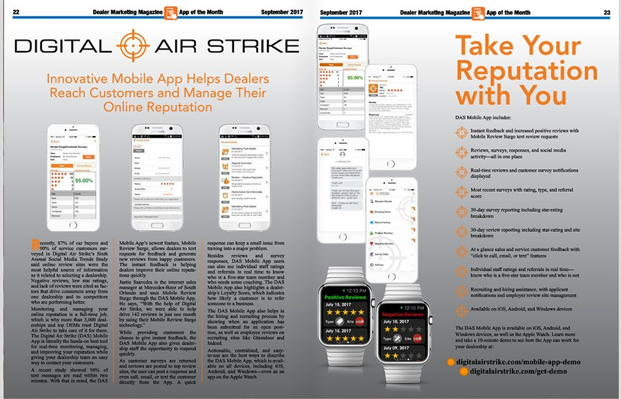 DAS Mobile App in Dealer Marketing Magazine