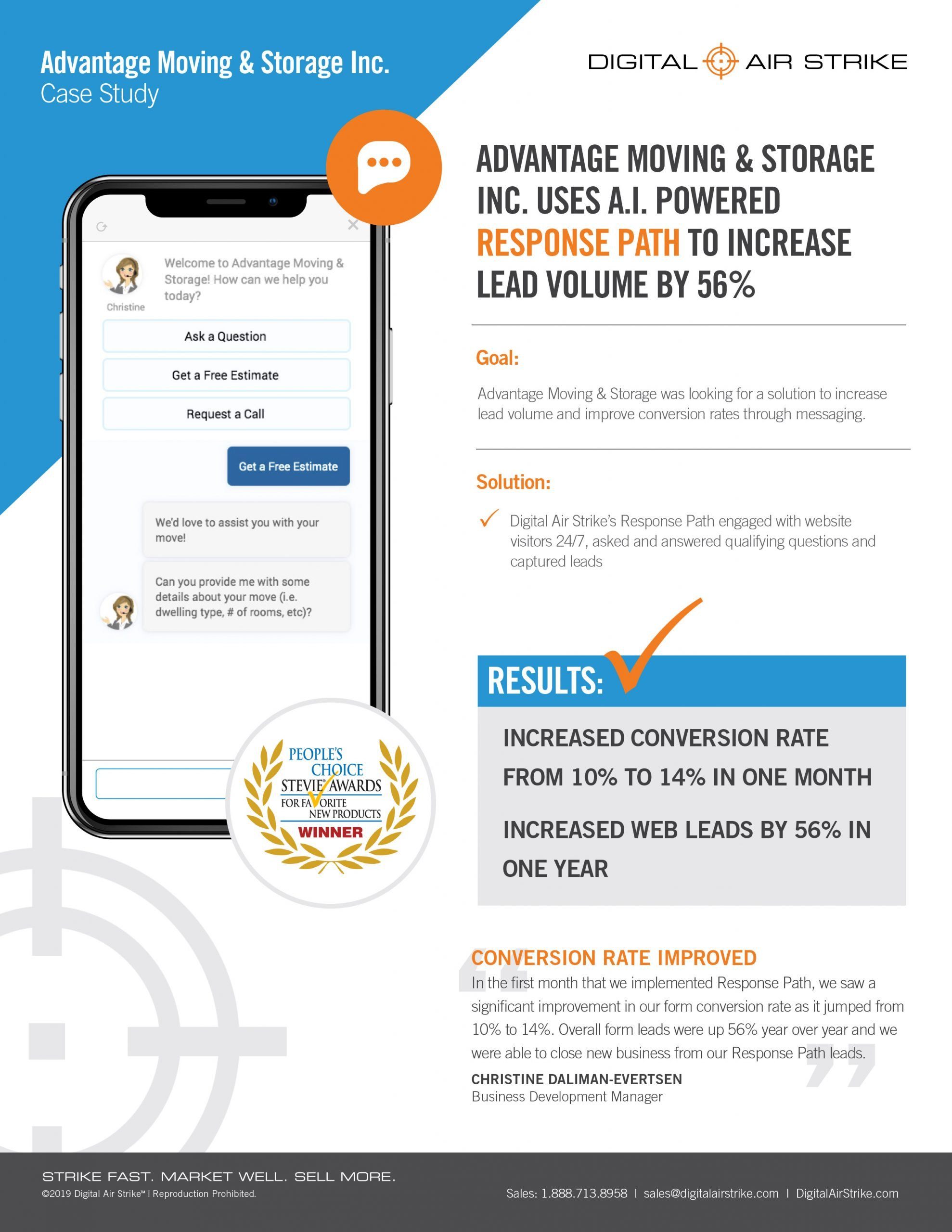 AI-Powered Sales Chatbot Increases Lead Volume 56 Percent for Moving Company – Digital Air Strike