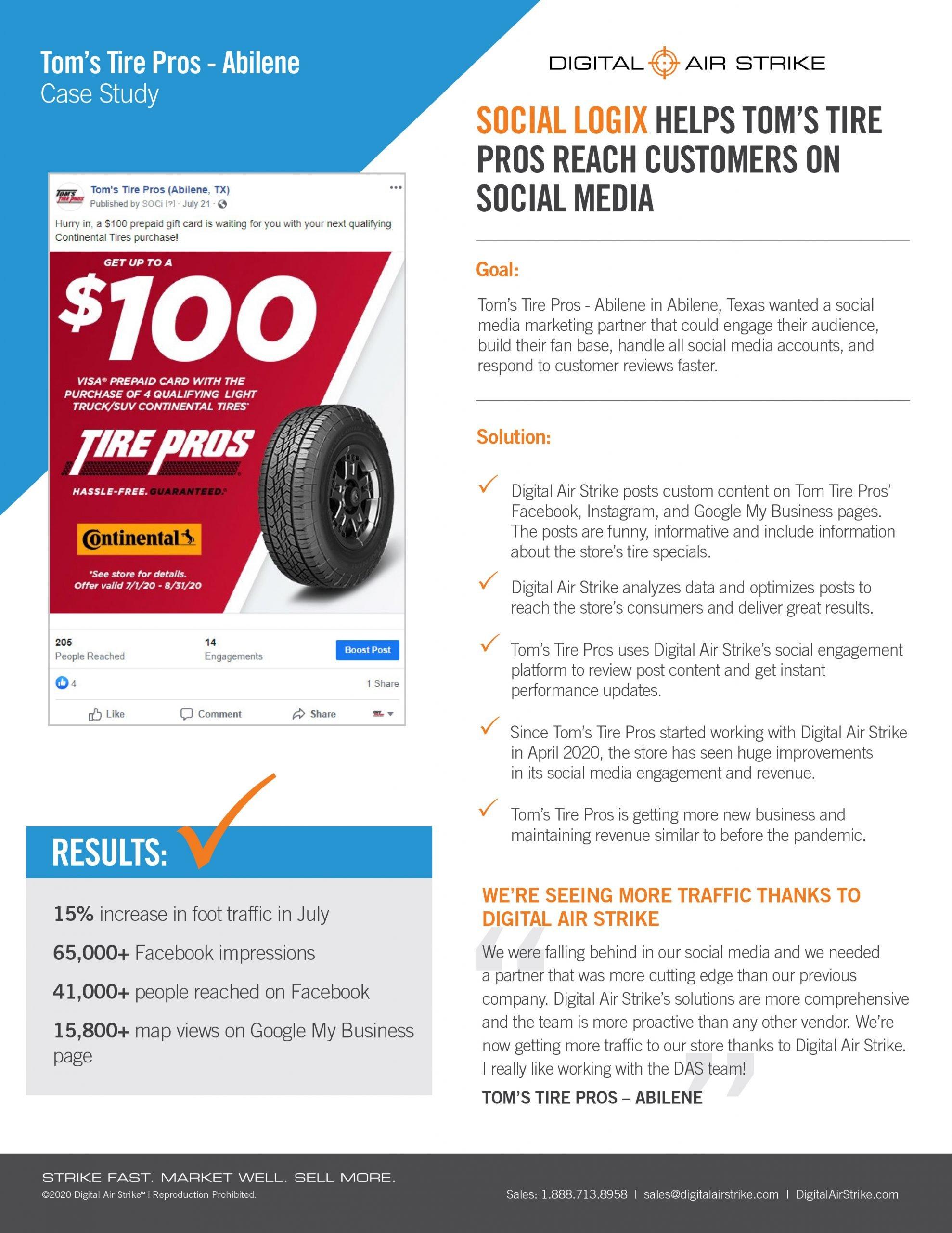 Social Media and Reputation Management Helps Tire Shop Increase Sales – Digital Air Strike