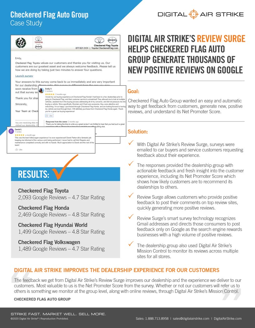 Checkered Flag Auto Group Case Study